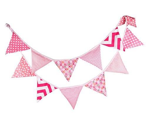 Lumanuby 12 Stuck Wimpelkette Schöne Stoff Wimpel fur Hochzeit Geburtstagsfeier Dekoration, Rosa Farbe -