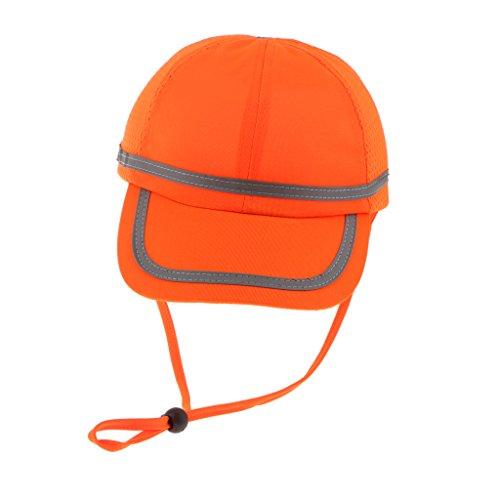 MagiDeal Casco Da Lavoro Cappello Protezione Testa Saldatura Industriali Mineari Cotone Vagone - Griglia Fluorescente Arancione