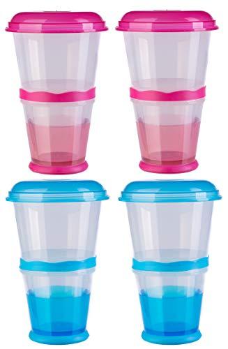 blupalu | 2 + 2 x Müslibecher to go Blau und Pink | isoliertes Milch-Kühlfach | Müsli-Fach | Löffel | 2 go | für unterwegs | praktisch | Cerial Mug | Party-Becher