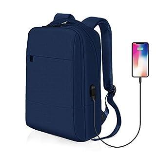 Mochila para Portátil, REYLEO Mochila Negocio Impermeable con Puerto de USB para Hombre Mujer Estudiante – Azul