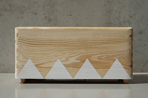 Holz Aufbewahrungs Box - Weiß klein - Triangel skandinavisch -