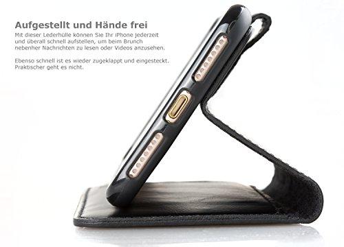 "Blumax iPhone 8 Plus iphone 7 plus Lederhülle Premium Echtleder iPhone Tasche 5,5"" Zoll mit Magnet Farbe schwarz Schwarz"