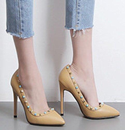 Aisun Femme Mode Rivets Basse Pointue Escarpins Abricot