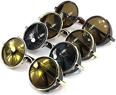 Gafas de sol ultra Steampunk 50s redondo gafas con protección UV400 en oro plata marrón azul espejo estampado de leopardo y té Cyber cobre gafas Rave Goth Vintage