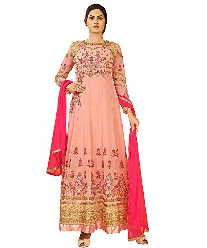 Ethnic Yard Women's Peach Georgette Semi-Stitched Anarkali Salwar Suit (SS-F1198)