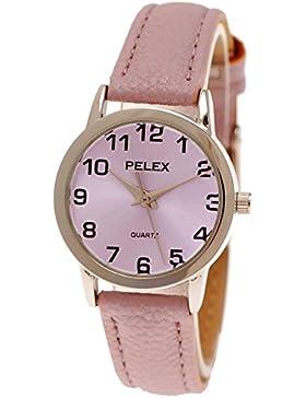Elegante Kleine Pelex London Damen-Uhr Analog Quarz Armband-Uhr Klassisches Design in Flieder