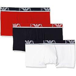 Emporio Armani Underwear Herren Hipster 1113578P715, 3er Pack, Mehrfarbig (Bianco/Mar/Tango Red 50710), Large
