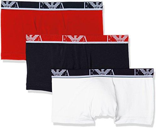 Emporio Armani Underwear Herren Hipster 1113578P715, 3er Pack, Mehrfarbig (Bianco/Mar/Tango Red 50710), Small (Mens Boxer Knit)