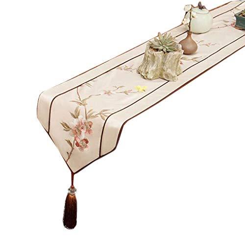 FJH Chemin de table Année vieux drapeau de la table mélangé beige mode simple lit de café nordique mariage hôtel banquet 30 cm * 180 cm (taille : 180cm)