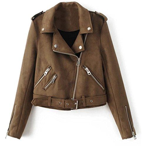 IWFREE Damen Jacke Herbst Bomber Jacke Piloten Mantel Outwear Tops Coat Bomberjacke Kurz Jacke mit Stehkragen Outwear Revers-Wildleder...