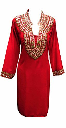 Desi sarees Damen indian red Tunika in Georgette Kurti Tunika Kurta für Damen Kaftan Damen Top London 6077 - Rot, 46 (UK 18) XXL (Georgette Kurta)