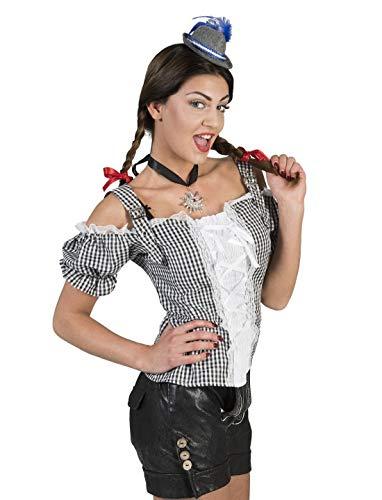 Luxuspiraten - Damen Frauen Kostüm Schulterfreie schwarz weiß Karierte Dirndl Bluse mit Pump-Ärmel, Black White Checkered Tirol Shirt, perfekt für Das Oktoberfest Karneval und Fasching, 2XL, Schwarz
