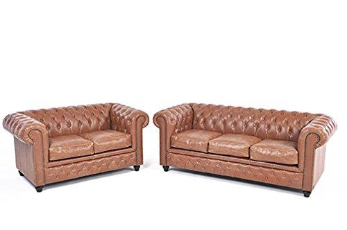 Original Chesterfield Sofas – 2 / 3 Sitzer – Vollständig Handgewaschenes Leder – Vintage Mokka