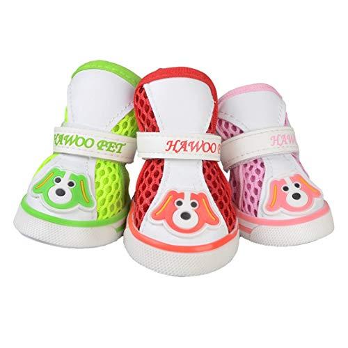 (FELICIPP Pet Schuhe Mesh atmungsaktive Schuhe Rutschfeste tragen Hund Schuhe (Color : Pink, Size : 5))