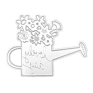 Haorw Gießkanne Design Stanzschablonen Metall Schneiden Schablonen Stanzformen Silber Für DIY Scrapbooking Album, Schneiden Schablonen Papier Karten Sammelalbum Deko