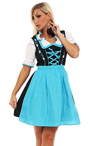 4211 Fashion4Young Damen Dirndl 3 tlg.Trachtenkleid Kleid Bluse Schürze Oktoberfest 4 Farben 4 Größen (42, Blau Schwarz)