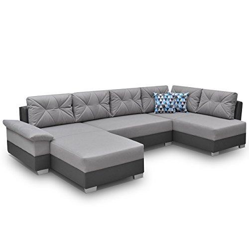 Ecksofa Eckcouch Manhattan U! XXL Sofa Couch mit Bettkasten und Schlaffunktion, Hochelastischer Schaumstoff HR, Große Funktionssofa U-Form Schlafsofa Bettsofa (Ecksofa Rechts, Madryt 195 + Novel 11)