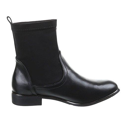 Damen Schuhe, 806-PA, STIEFELETTEN Schwarz