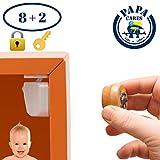 PAPA CARES Kindersicherung Schrank I Schubladensicherung ohne Bohren mit Magnet I Unsichtbar, einfache Montage I 8+2 Set I Schlüssel aus Holz