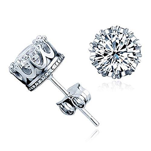 New Fashion Orecchini in argento Sterling 925 a forma di corona. Orecchini cristallo austriaco con chiusura farfallina, regalo per uomini e donne