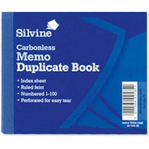Silvine autocopiante libro Duplicate Memo 1–100, 102x 127mm, 703-p [Confezione da 5] - Autocopiante Fattura Libro