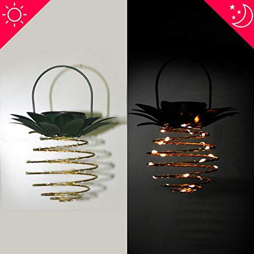 Luce decorativa solare impermeabile a scomparsa per esterni a led da giardino in ferro con luce solare a forma di ananas in ferro a led