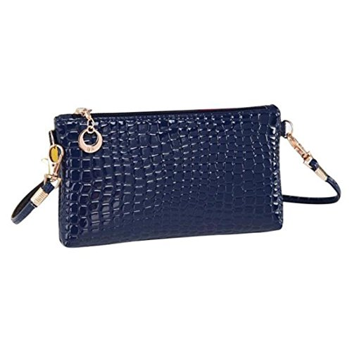 Handtasche Damen Btruely Mädchen Messenger Crossbody Krokodil Leder Clutch Schulter (Blau)