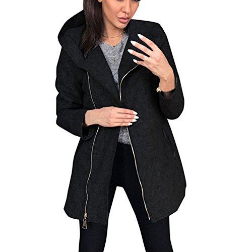 Beikoard Vestiti Donna Invernali Giubbotto Donna Invernale,Moto Moda Donna Autunno Inverno Cappotto Cappotto Giacca Outwear Parka Soprabito Cardigan(Nero,L)
