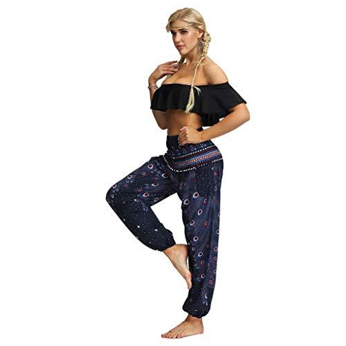 Posional Harem Pantalón con Veraniego Print Boyfriend Aladin Bombacho Bohemia Sudadera Baggy Yoga Mujer Talla Grande Gran Tamaño Pantalón