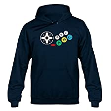 SEGA Saturn inspired Buttons Joypad Controller Videogame Console Unisex Hoodie Hoody Hooded Sweater Navy Blue Extra Large