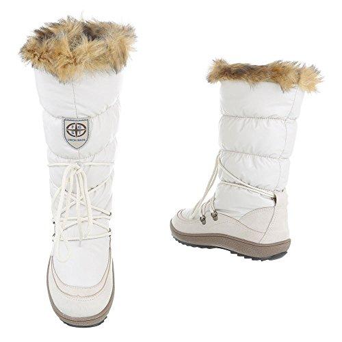 Komfortstiefel Damenschuhe Klassischer Stiefel Moderne Ital-Design Stiefel Weiß