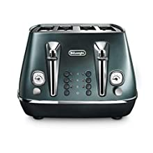 De'Longhi Distinta Flair 4 slot toaster, reheat, defrost, one-side bagel & 6 browning settings, matte metallic design, CTI4003.GR, Green