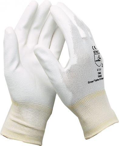 Montagehandschuhe Arbeitshandschuhe Elektriker Mechaniker Handschuhe Nylon mit PU Weiß Größe 9 / 1 Paar