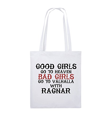 Comedy Bags - Good girls go to heaven bad girls go to valhalla - Jutebeutel - lange Henkel - 38x42cm - Farbe: Natural / Hellbraun-Dunkelbraun Weiss / Schwarz-Rot