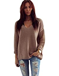 c4b8f34ba0cb83 Pullover Damen Gestrickt Sweatshirt Ronamick V-Ausschnitt Loose Knitwear  Lange Ärmel Stricken Einfarbig Casual Top