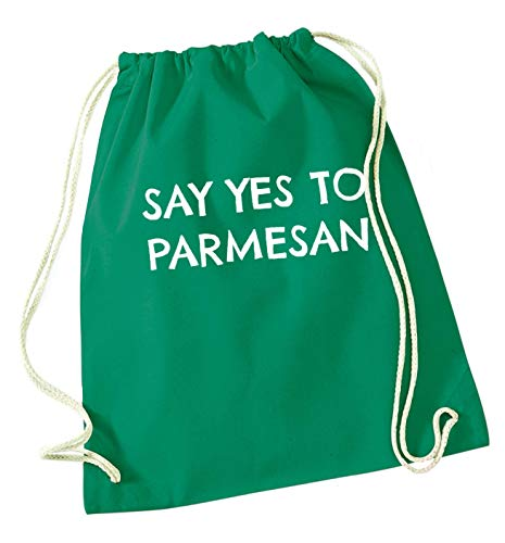 Flox Creative Green Drawstring Bag Say Yes to Parmesan