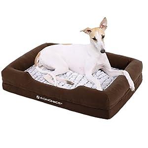 Songmics Lit chien Panier Coussin Canapé pour chien Revêtement en peluche douce Lavable en machine avec M Dimension extérieure: 73 x 50 cm PGW73Z