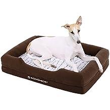 Songmics camas para perros Cómodo mascotas Sofá para Mascotas Lavable a Máquina Reborde Alto Colchón de Esponja Funda A prueba de Frío Base Antideslizante M Dimensiones externas: 73 x 50 cm PGW73Z