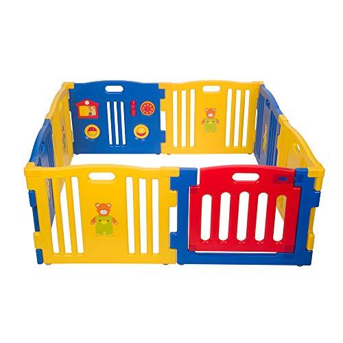 Mcc® Box Bambini Recinto Bimbo in plastica con 8 pannelli, Barriera Protettiva con Cancelletto