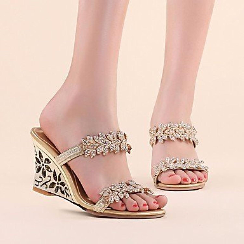 FSCHOOLY Womens Zapatos De Cuero Auténtico Confort Primavera Verano Sandalias De Tacón De Cuña Para Informales... -