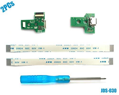 2PCs JDS-030 USB Ladebuchse mit Flexkabel für PS4 Controller, Replacement Anschluss Platine Adapter, Reparatur Part Ladegerät Module Port, Battery Charging Board für Playstation DualShock