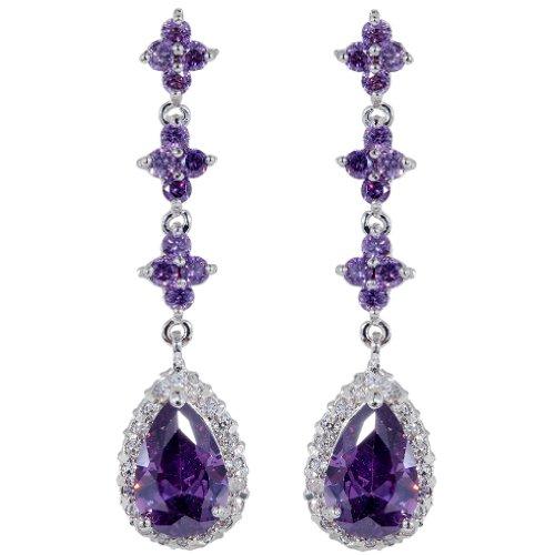 Pendientes Circonita perfecto largo cuelgan cúbicos púrpura plata Yazilind araña Bañado Flor lágrima