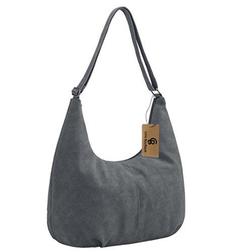 Damen Handtasche Leder Schultertasche Shopper Henkeltasche Mädchen - 40/38/18 cm (B*H*T) (Reißverschluss Slipknot)