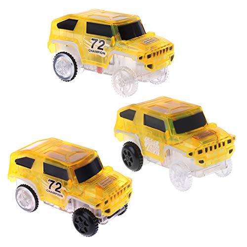 Junlinto, leuchten Auto für Magic Track elektronische Autos Spielzeug mit blinkendem licht Geschenk gelb (Tablet Spielautomat)