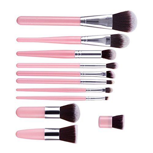 Generic 11Pcs Make-up Make Up Brush Set Eyeshadow Blending Powder Foundation Blush Brush - pink silver