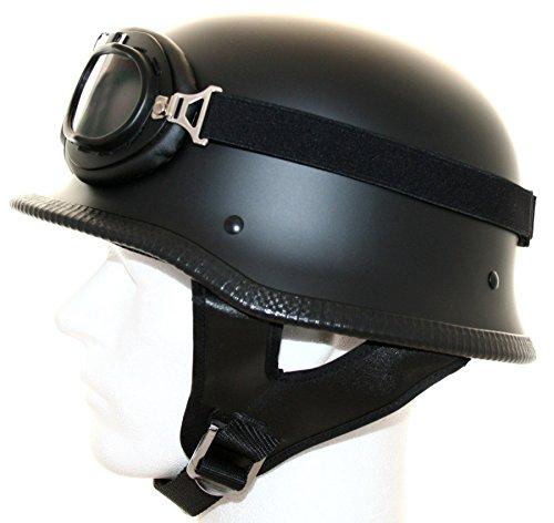 ATO WH2 - Casco per moto con occhiali in stile vintage, taglie dalla S alla XL, colore nero opaco