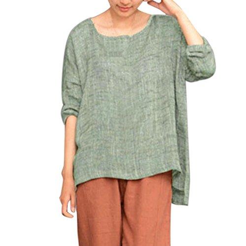 MRULIC Damen Leinen Gemütlich Leinen Dünnschnitt Lose langärmelige Bluse T-Shirt Pullover (EU-38/CN-S, X-Grün) (S/s Mesh-polo-shirt)