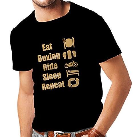Cavalier Noir Dvd - T-shirt pour hommes Eat Sleep Boxing Repeat