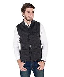Zoravie Mens Solid Cotton Sleeveless Nehru Jacket, Black