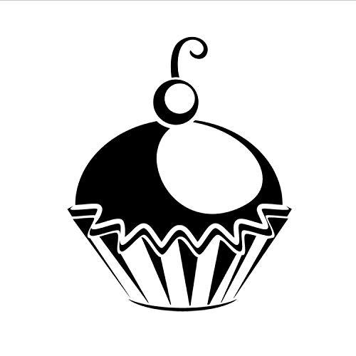 qazwsx Kirsche In Der Cupcake Silhouette Wandaufkleber Vinyl Abnehmbare Wasserdichte Küche Lounge Esszimmer Tapete Fertige Größe 59X70 cm (Glas Kirsche Türen Schrank Mit)